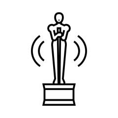 Oscar statue line icon, concept sign, outline vector illustration, linear symbol.