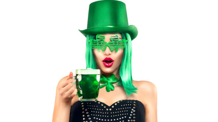 St. Patrick's Day leprechaun model girl in green hat and costume, holding mug of Green Beer pint over white background, surprised emotion. Patrick Day pub party, celebrating. Glass of Green beer Wall mural