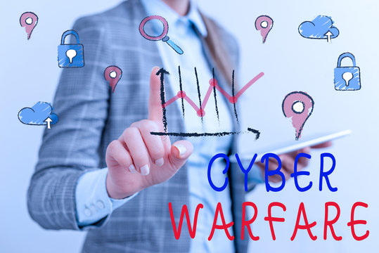 Writing note showing Cyber Warfare. Business concept for activity of using the internet to attack a country computers
