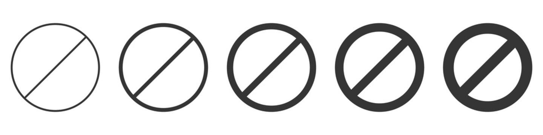 Set of prohibition sign. Stop symbol. Black ban icon