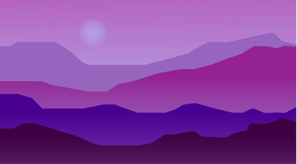 Night landscape with mountains. Vector illustration