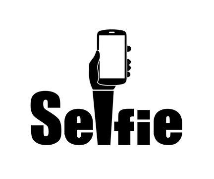 Taking selfie photo on smart phone concept sign, selfie badge, selfie label icon - stock vector