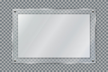 Blank poster in 3d realistic glass frame hanging on wall isolated on transparent background. Empty photo frame template, banner plexiglass holder mock-up, rectangular name plate - stock vector