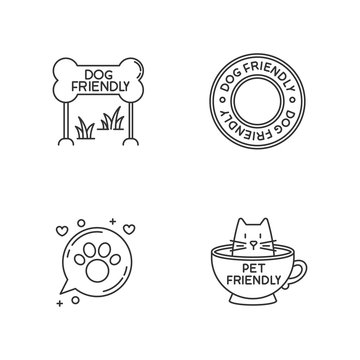 Cat and dog friendly areas emblems pixel perfect linear icons set. Kitty and doggy welcome. Customizable thin line contour symbols. Isolated vector outline illustrations. Editable stroke