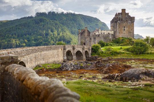 Eilean Donan Castle from 13th century in the centre of three lochs - Alsh, Duich, Long, in Dornie, Kyle of Lochalsh, Scotland, UK