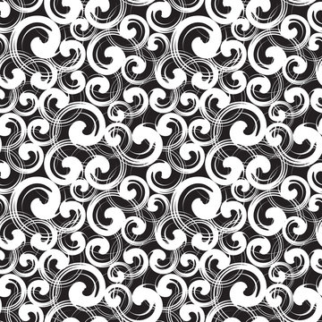 Spiral symbols seamless pattern. Different sizes white swirls randomly placed over black. Wrapping texture with abstract curls. Vector eps8 illustration.