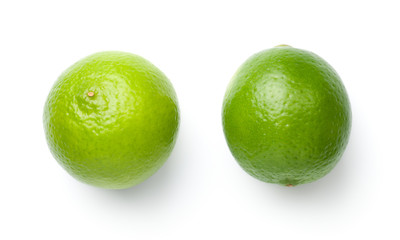Limes Isolated On White Background Wall mural