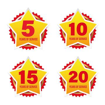 Years of service award badge star