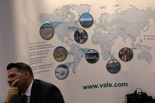 A map of operations is displayed at the booth of Brazilian mining company Vale SA at the PDAC annual conference in Toronto