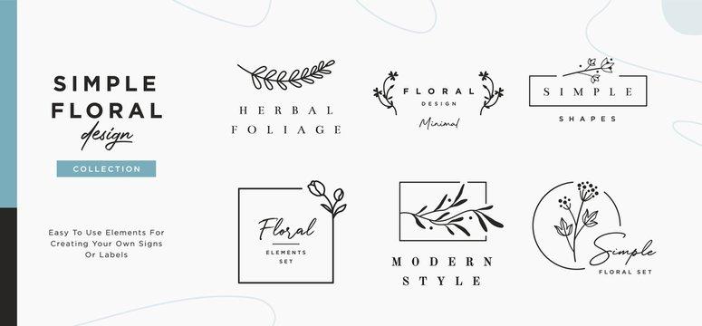 Set of minimalistic elegant geometric floral elements. Premade decorative fashion labels, signs. Vector