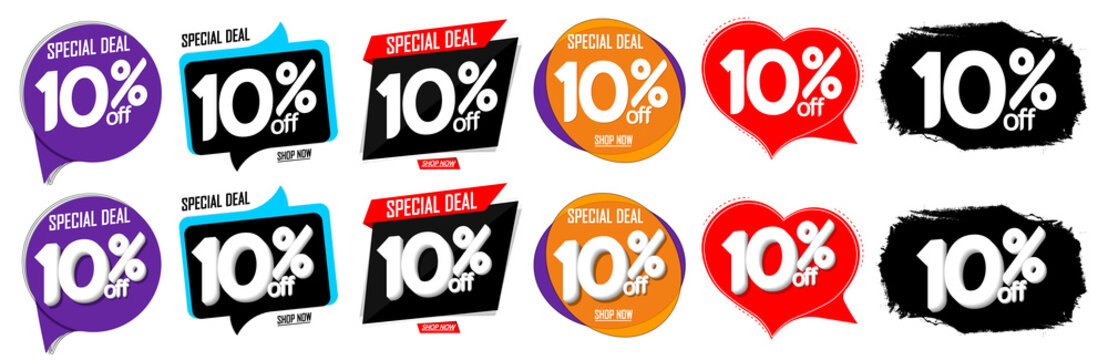Set Sale 10% off speech bubble banners, discount tags design template, special deal, vector illustration