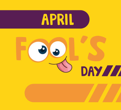 april fools day with crazy eyes vector illustration design