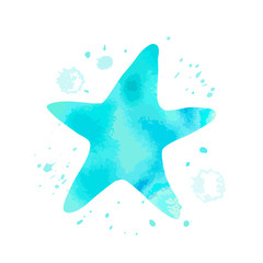 Blue starfish animal with watercolor texture and abstract cyan spot on white background. Cartoon asteroid for design, logo, background, card, print, sticker