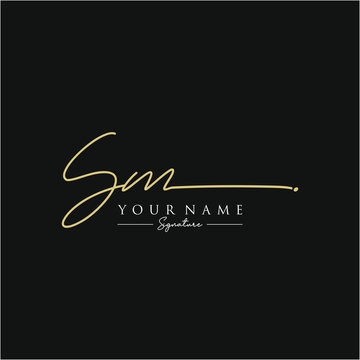 Letter SM Signature Logo Template Vector
