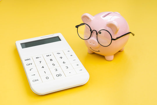 Piggy bank wearing glasses looking at calculator on yellow background using as budget, tax cost and expense calculation or money and finance concept