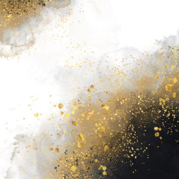 Black watercolor texture with gold. Abstract background