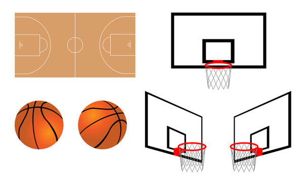 Illustration of basketball and goal