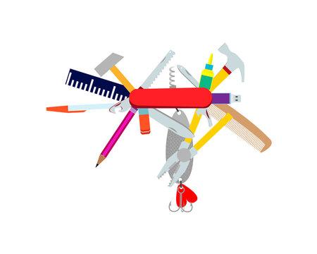Multifunctional pocket folding tool. Parody. Vector illustration.
