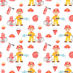 Boy fireman and fire equipment. White background. Watercolor seamless pattern