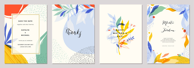 Set of modern wedding templates. Good for birthday, bridal and baby shower.