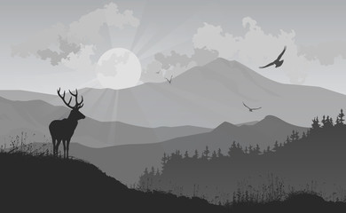 Wall Mural - mountain landscape with a deer and birds flying to the sun, vector illustration, silhouette composition with good detail