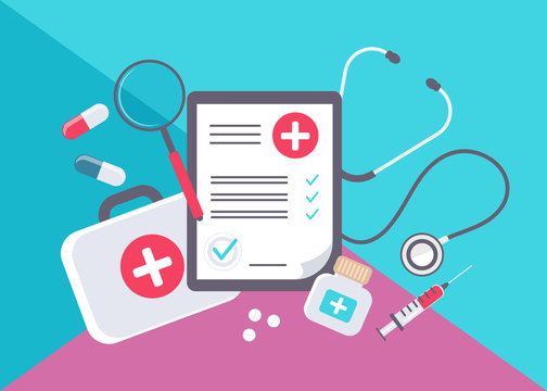 Medical form list with results data and approved check mark vector illustration, flat cartoon clinical checklist document with checkbox, insurance or medicine service concept, prescription record.