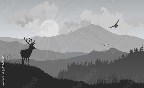Wall mural mountain landscape with a deer and birds flying to the sun, vector illustration, silhouette composition with good detail