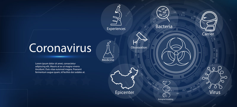 Coronavirus. Wuhan viral disease, methods of preventing viral infections, virus, allergy bacteria. Infographics, logo, symbol and how to prevent. Microbial disease, pathogen, infectious microvirusol.