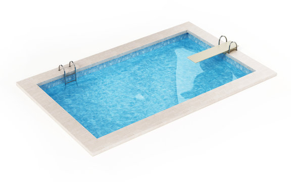 Generic swimming pool isolated on white background. 3D illustration