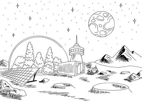 Colony planet graphic black white space landscape sketch illustration vector