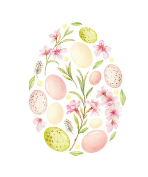 Watercolor vector postcard with Easter decoration in the shape of an egg.