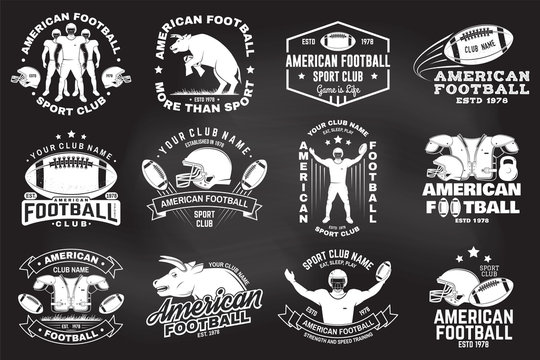 Set of american football or rugby club badge. Vector for shirt, logo, print, stamp, patch. Vintage design with bull, american football sportsman player, helmet, ball and shoulder pads silhouette