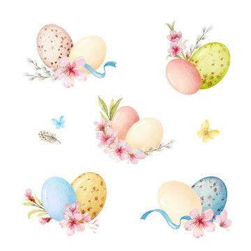 Happy Easter vector watercolor set with arrangement of flowers and eggs.
