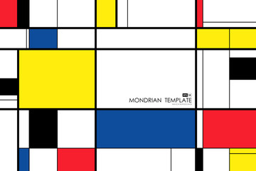 Abstract mondrian template design artwork retro background. illustration vector eps10