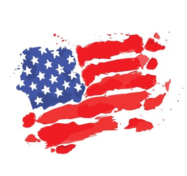 American flag / Watercolor sketch, flag of the USA, vector illustration