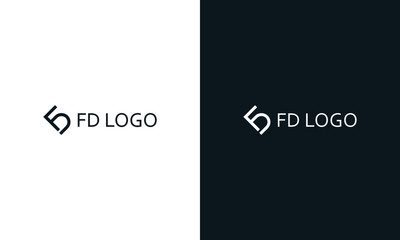 Minimal modern line art letter FD logo. This logo icon incorporate with two letter F and D in the creative way.