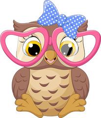 Canvas Prints Owls cartoon Cute little owl girl wearing pink glasses