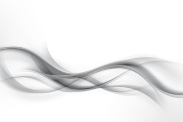 Obraz Awesome white and grey waves background. Futuristic motion lines backdrop. Business cards design. - fototapety do salonu
