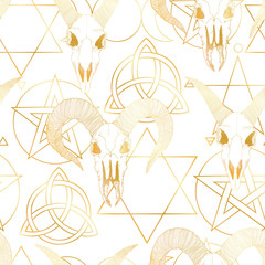 Vector hand drawn seamless pattern with magical astrology, Alchemy, spirituality and occultism symbol.  In sketch style with goat skull illustration. Best for wrapping, wallpaper or textile design.