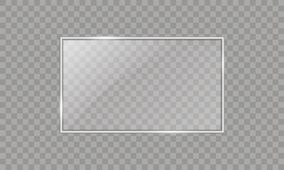 Vector glass rectangle on a transparent background. Transparent mirror, realistic glare window