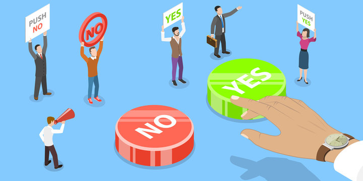 Vector Isometric Concept of Choosing YES or NO answer. A Man is Making Decision which Button to Push. Two Groups of People are Persuading Him to Choose Their Button.