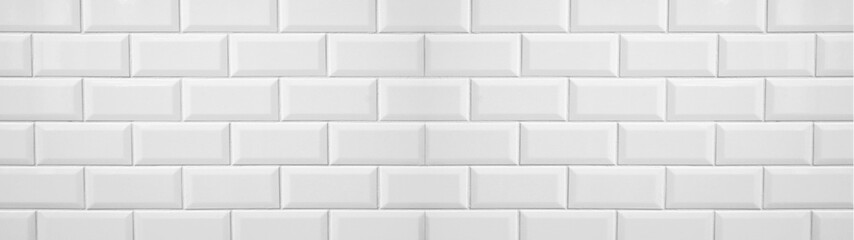 Photo Blinds Brick wall White light brick tiles wall texture banner panorama