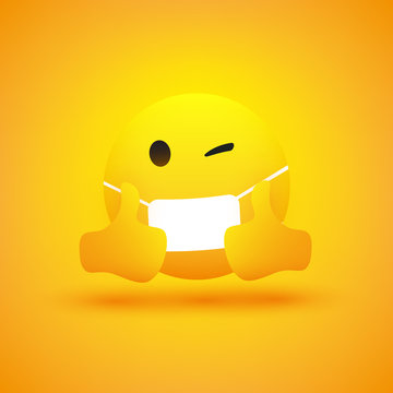 Emoji - Simple Emoticon with Winking Eye, Showing Thumbs Up and Wearing Medical Mask - Vector Design on Yellow Background