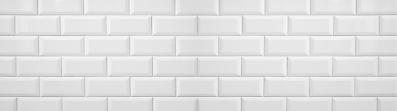 White light brick tiles wall texture wide background banner panorama