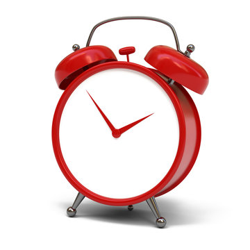 Red alarm clock isolated on white background 3d rendering