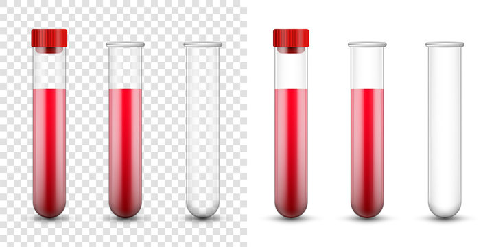 Creative vector illustration test tubes, laboratory glassware isolated on transparent background. Test-tubes filled with blood template. Concept science, pharmacy, beaker, medical glass, vial, element