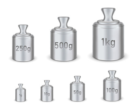 Creative vector illustration of calibration weight isolated on transparent background. Different sizes of calibration weight scales template. Abstract concept graphic laboratory scales element