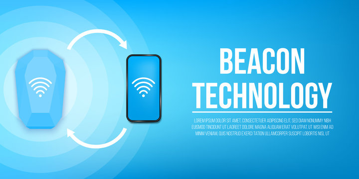 Creative vector illustration of beacon technology, office radar, wifi wireless concept background. Design beacon home device template. Abstract remote access and communication, data wifi transfer.