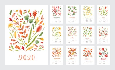 2020 year calendar design week start on sunday set of page templates. Collection of schedule page with months decorated flowers and plants isolated on white. Colored weekly timetable