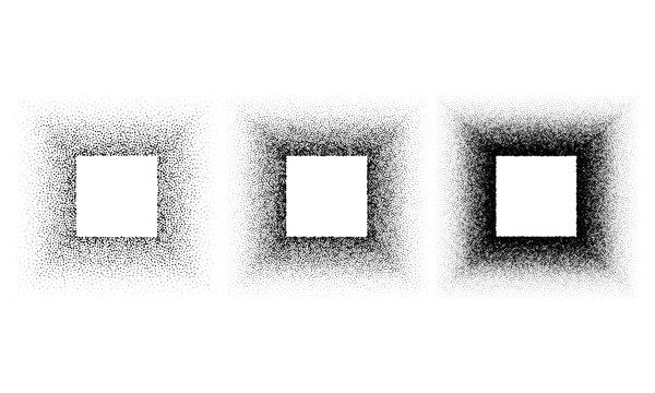 Grunge spray stencil square frames. Gradient ink splatter dots template. Cube graffiti black halftone stencils border isolated on white. Vector illustration